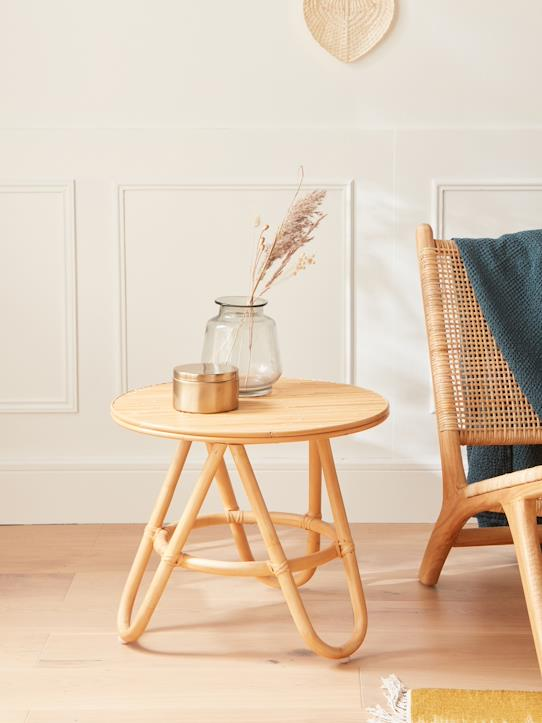 Maison-Mobilier-Tables-Petite table ronde rotin