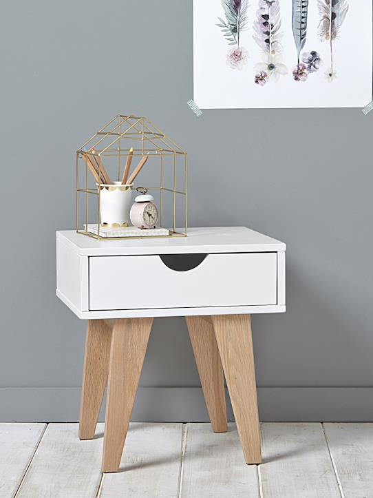Table de chevet Blanc+Gris