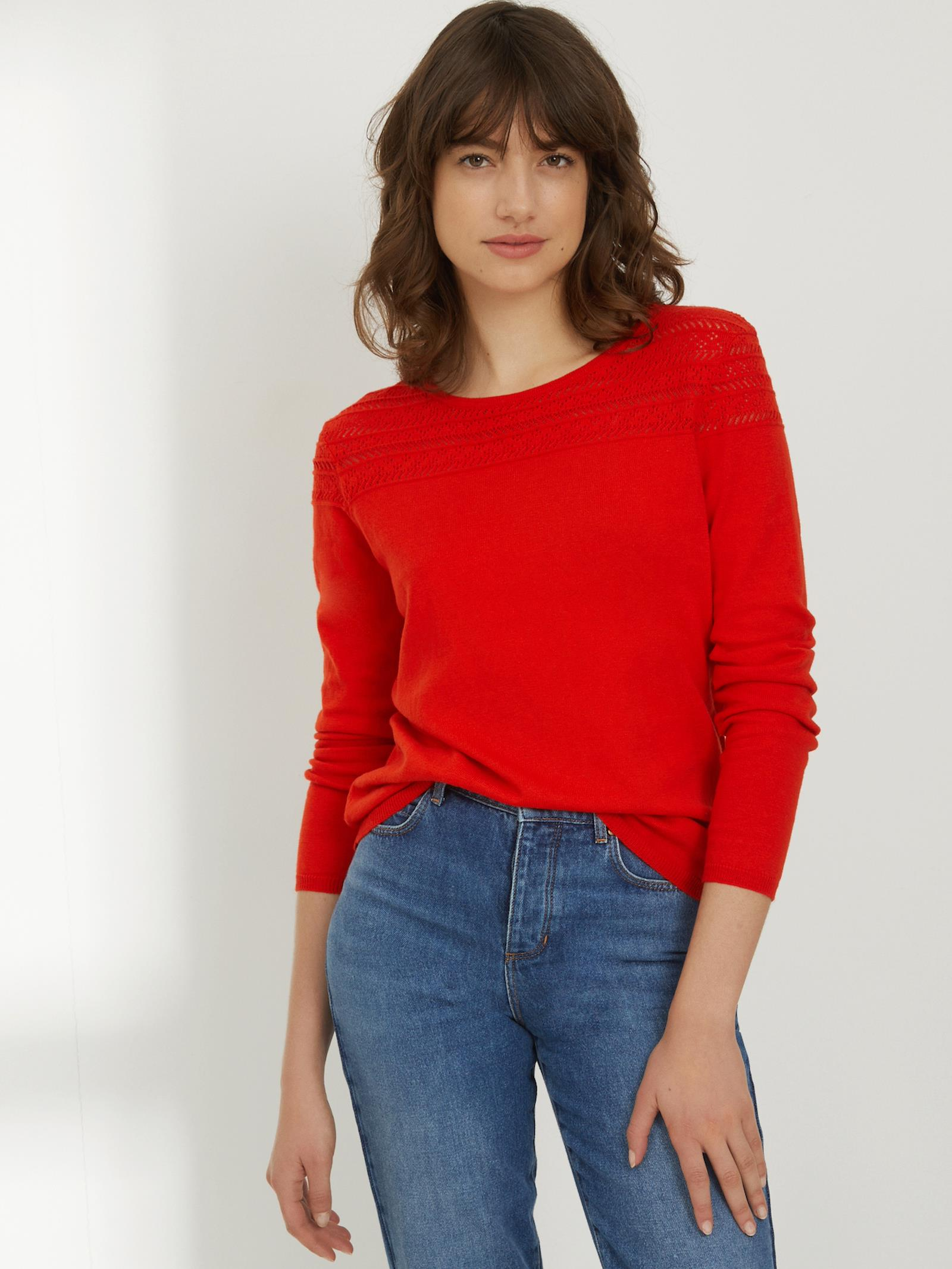 pull rouge cachemire femme