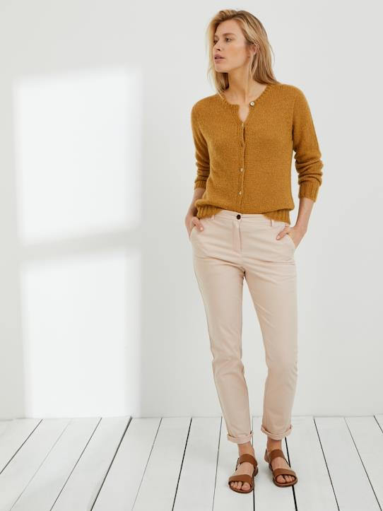Chino femme en coton stretch Beige+Blanc+Bleu roi+MAKE-UP+Marine+Safran+Vert savane