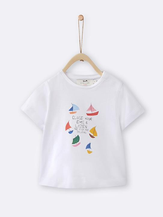 T-shirt illustration Madeleine bébé Blanc+Gris chiné