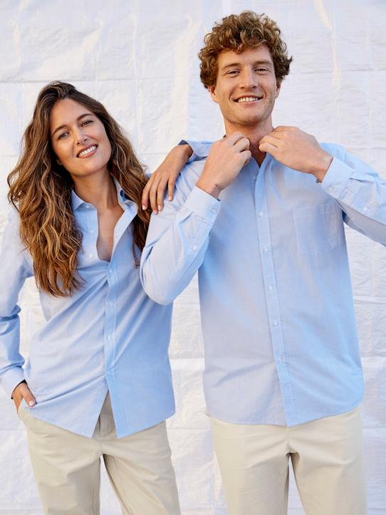 Chemise mixte homme/femme - Collection One For Two Blanc/bleu