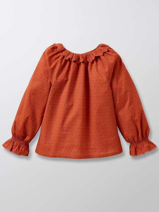 Tunique avec broderie anglaise fille Terracotta