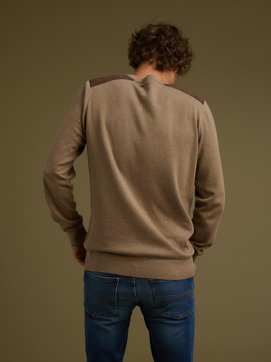 Pull col rond homme patch épaules Bleu marine+Taupe chiné