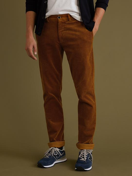Chino velours regular homme Camel