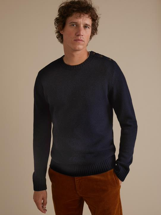 Pull col rond homme Gris anthracite chiné+Marine