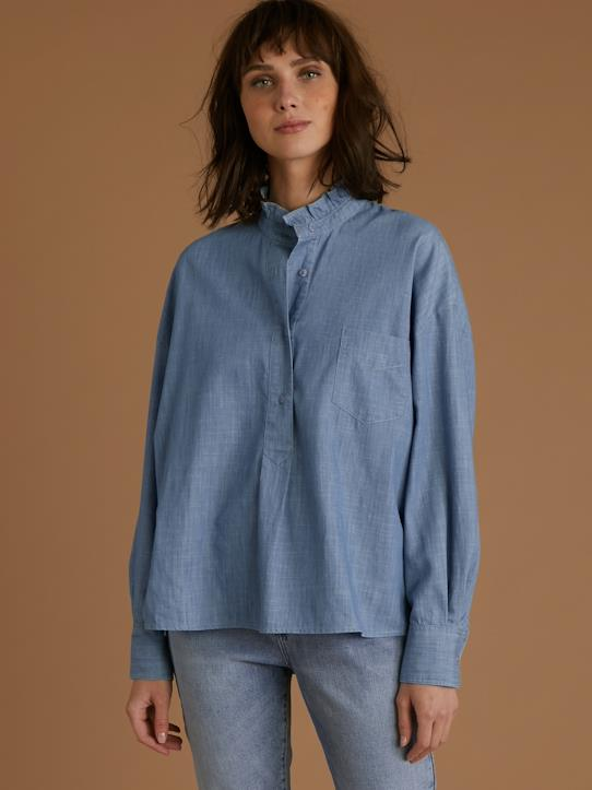 Blouse denim light femme Bleu
