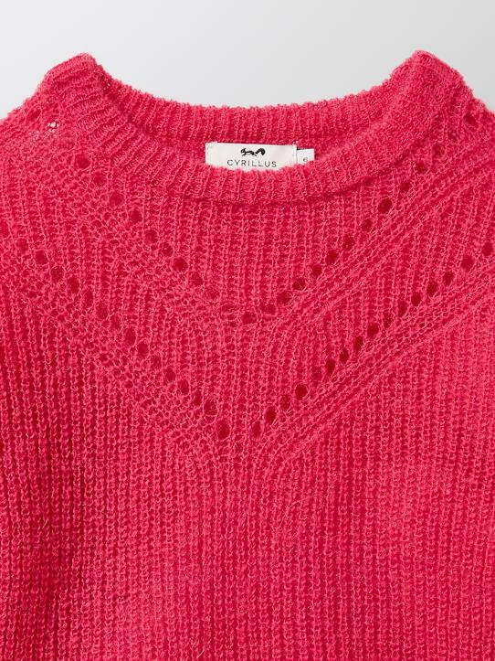 Pull mousseux fille Rose fuchsia