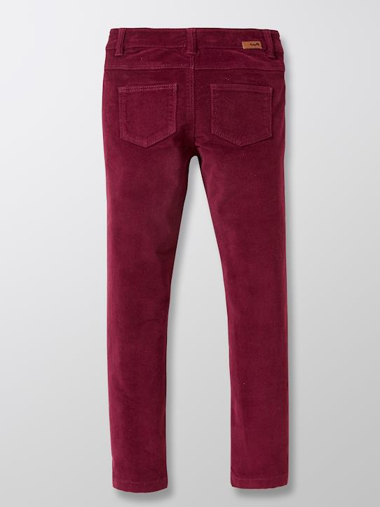 Slim en velours fille Cannelle+Violet