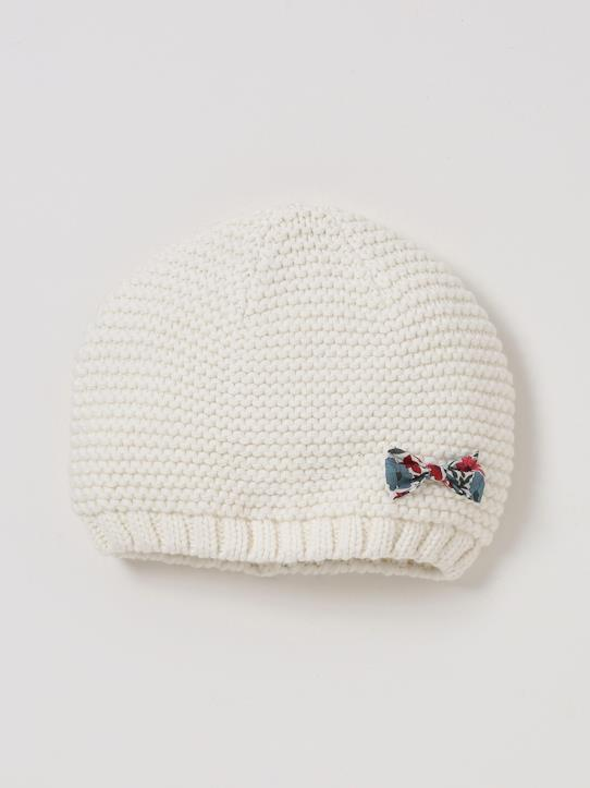 Bonnet noeud en tissu Liberty fille Ecru/Liberty Poppy & Daisy+Marine/Liberty Wiltshire