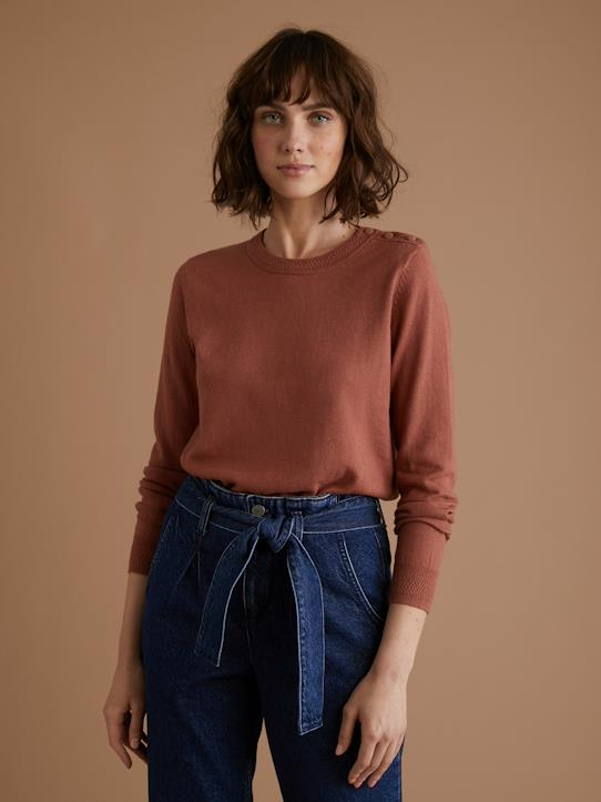 Pull col rond fantaisie femme Encre+Tomette