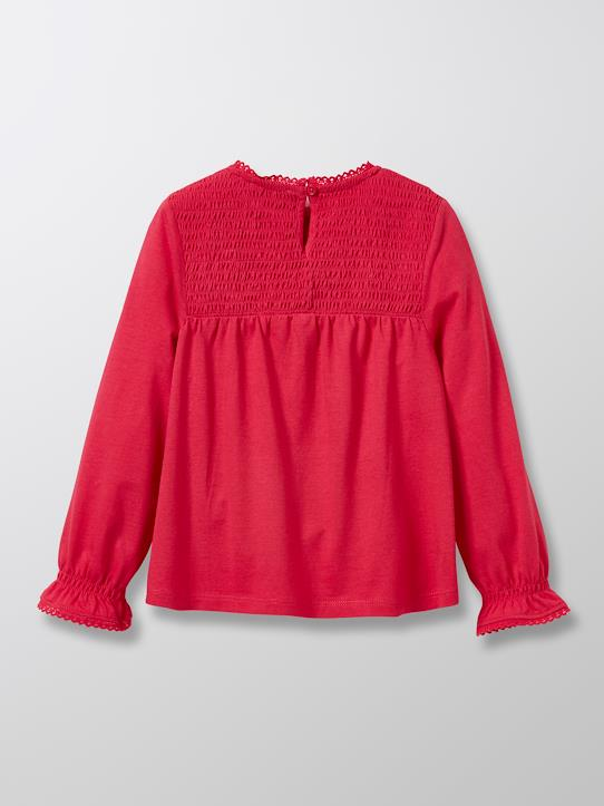 T-shirt à smocks fille Rose fuchsia