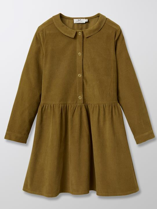 Robe-chemise en velours fille Bronze+Terracotta