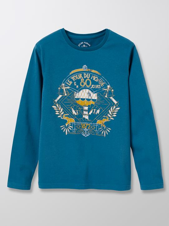 Tee-shirt collection Jules Verne Amande+Bleu nuit+Bourgogne