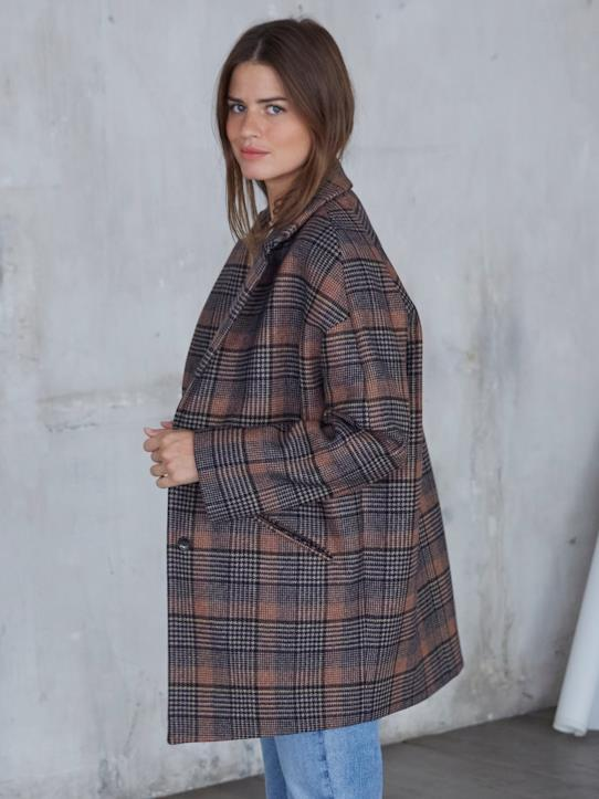 Le manteau oeuf Chiara - Limited Collection Encre+Noisette+Pied-de-poule+Prince de Galles+Rouge+Vert pin