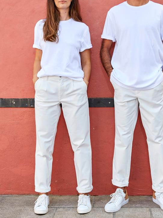 Pantalon mixte homme/femme - Collection One For Two Ecru