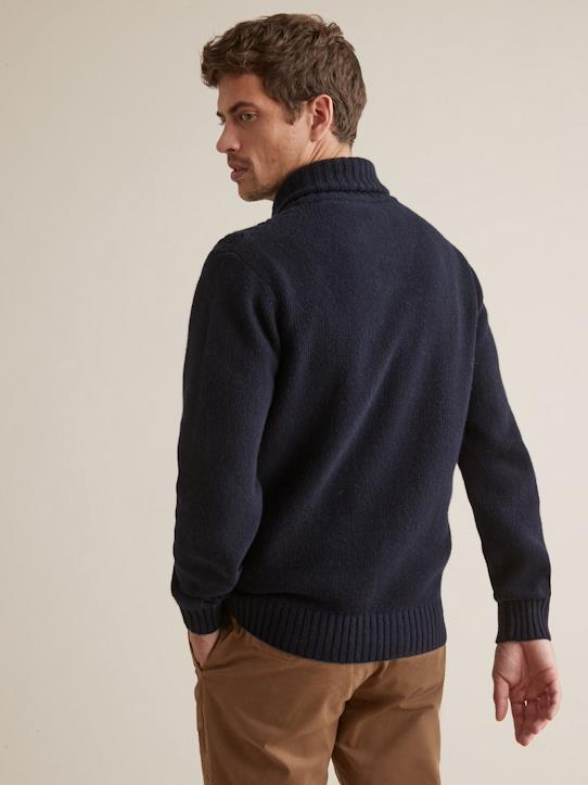 Pull col châle homme Marine
