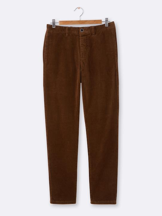 Chino velours Regular homme Gris+Kaki+Marine+Marron foncé+Marron glacé