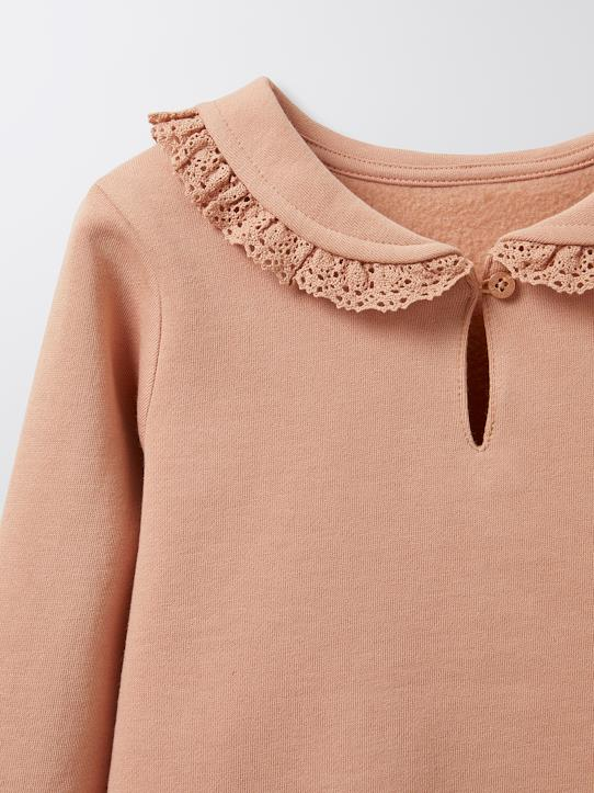 Sweat col matelot fille Bleu glacier+Rose blush