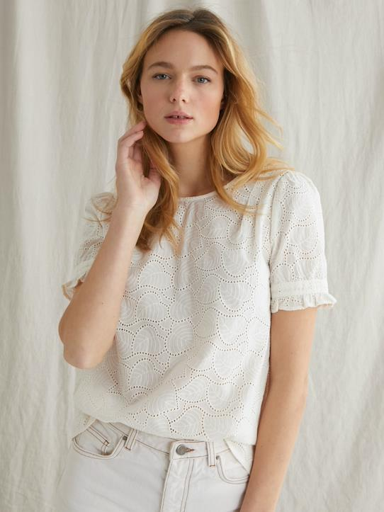 Femme-Chemises, blouses-Top broderie anglaise femme
