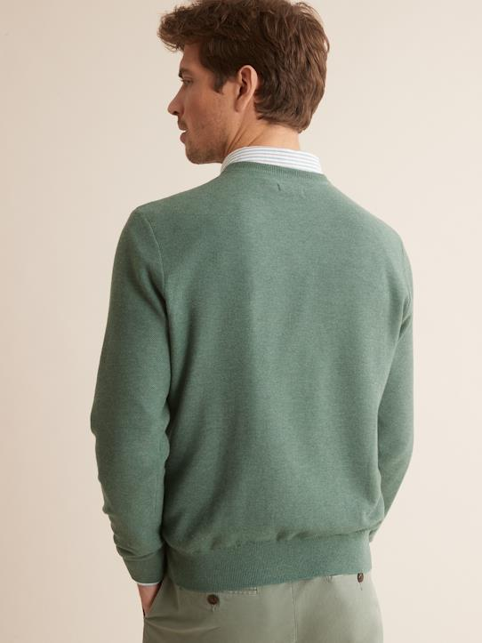 Pull col rond homme Bleu Denim+Taupe chiné+Vert Baroudeur