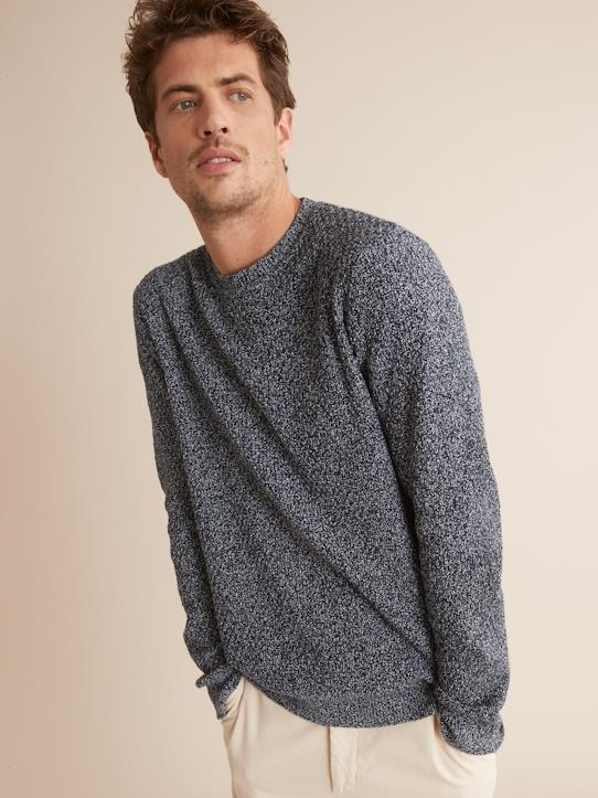 Pull col rond homme Bleu Marine