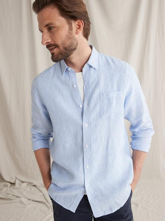 Homme-Chemises-Chemises casual-Regular Fit-Chemise Regular Fit homme en lin uni ou rayé