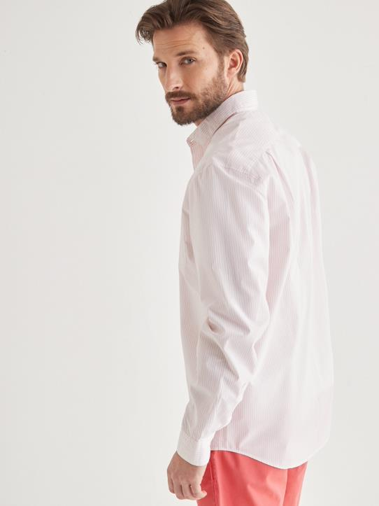 Chemise Regular Fit rayée homme Rose/blanc